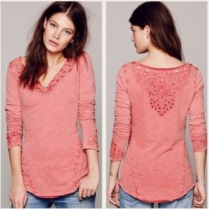 Free People Luna watermelon Henley